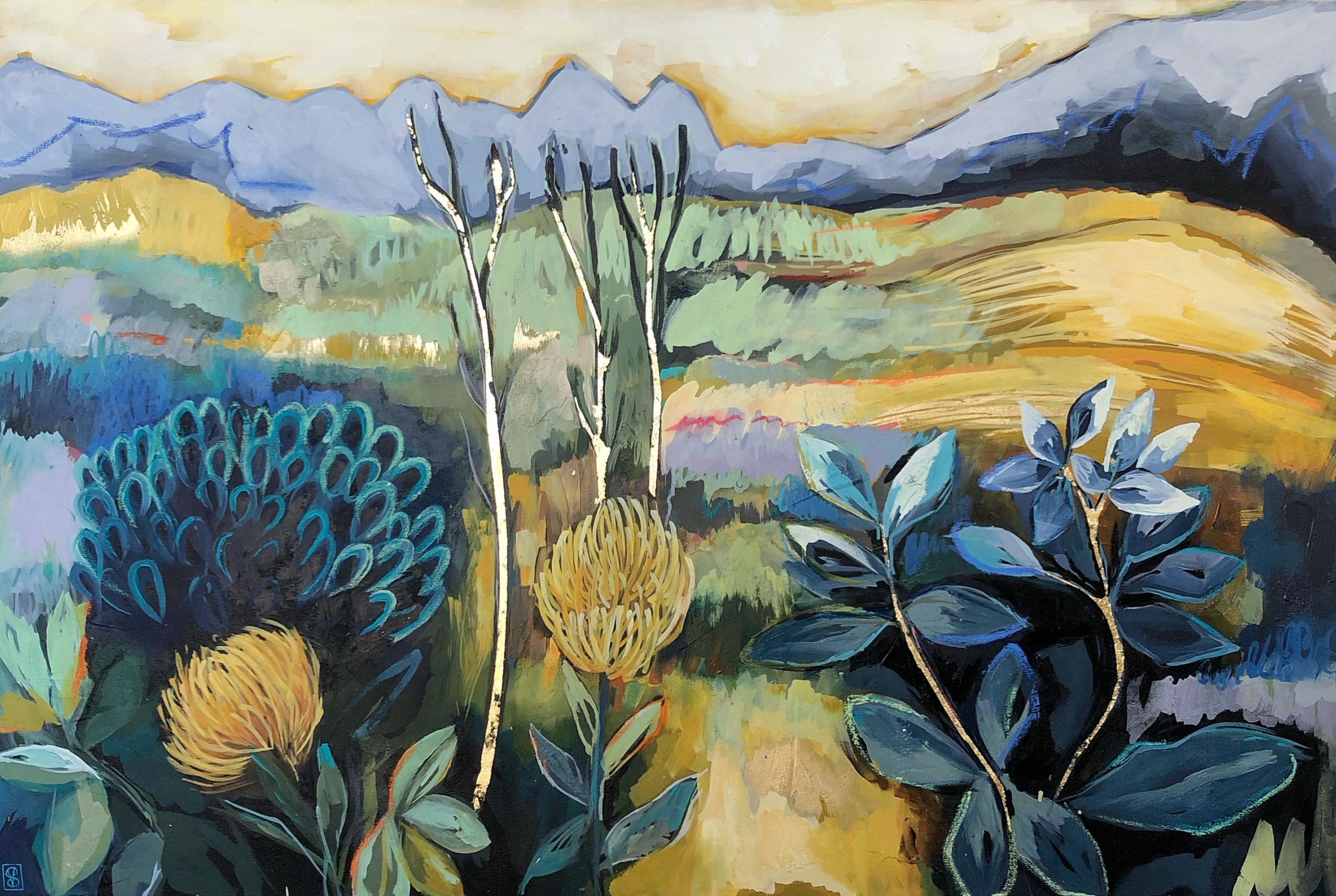 Vicky Sanders Abstract Botanical - Boland Landscape with Pin Cushions