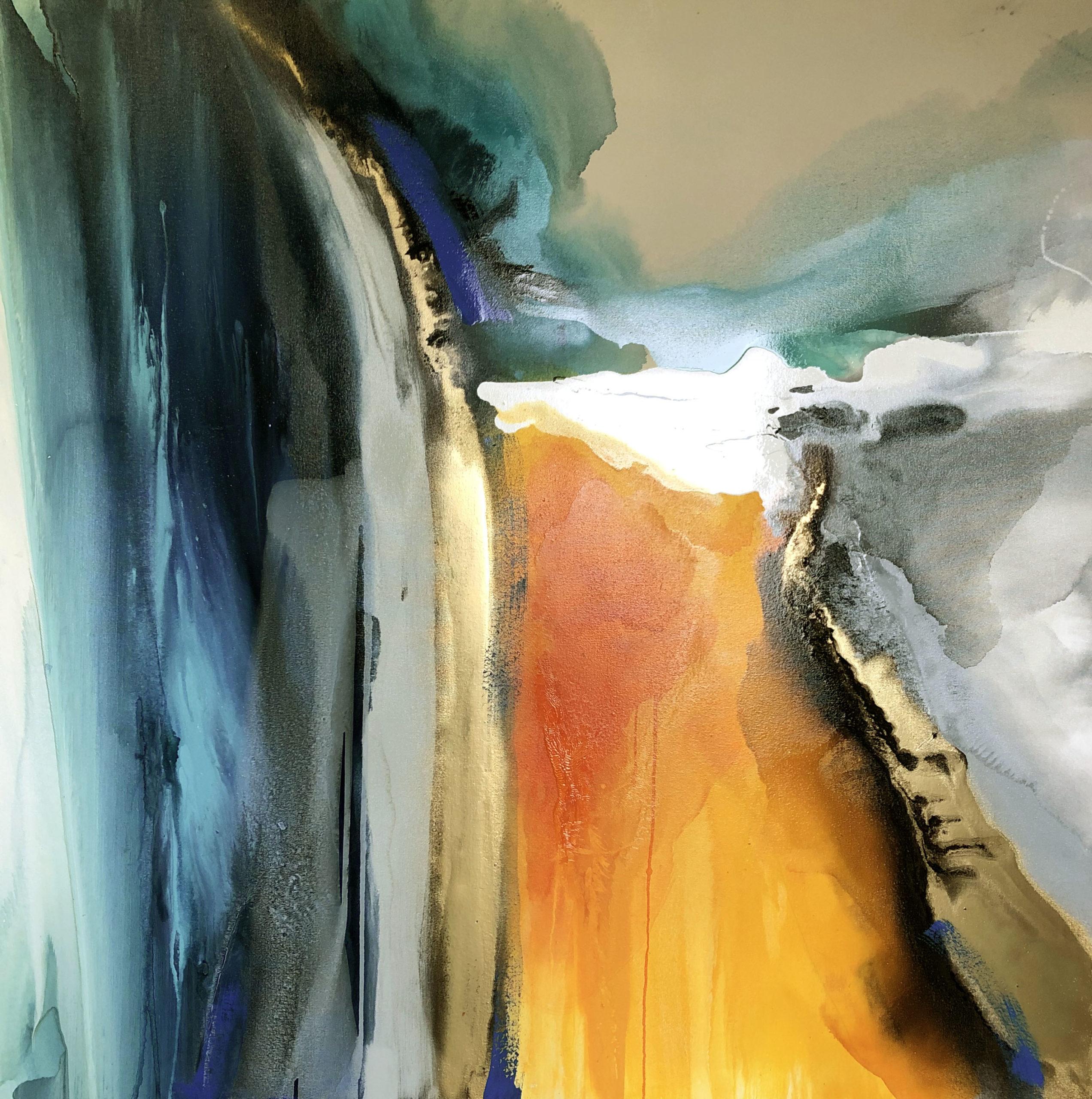 Vicky Sanders Abstract - Aqua Yellow