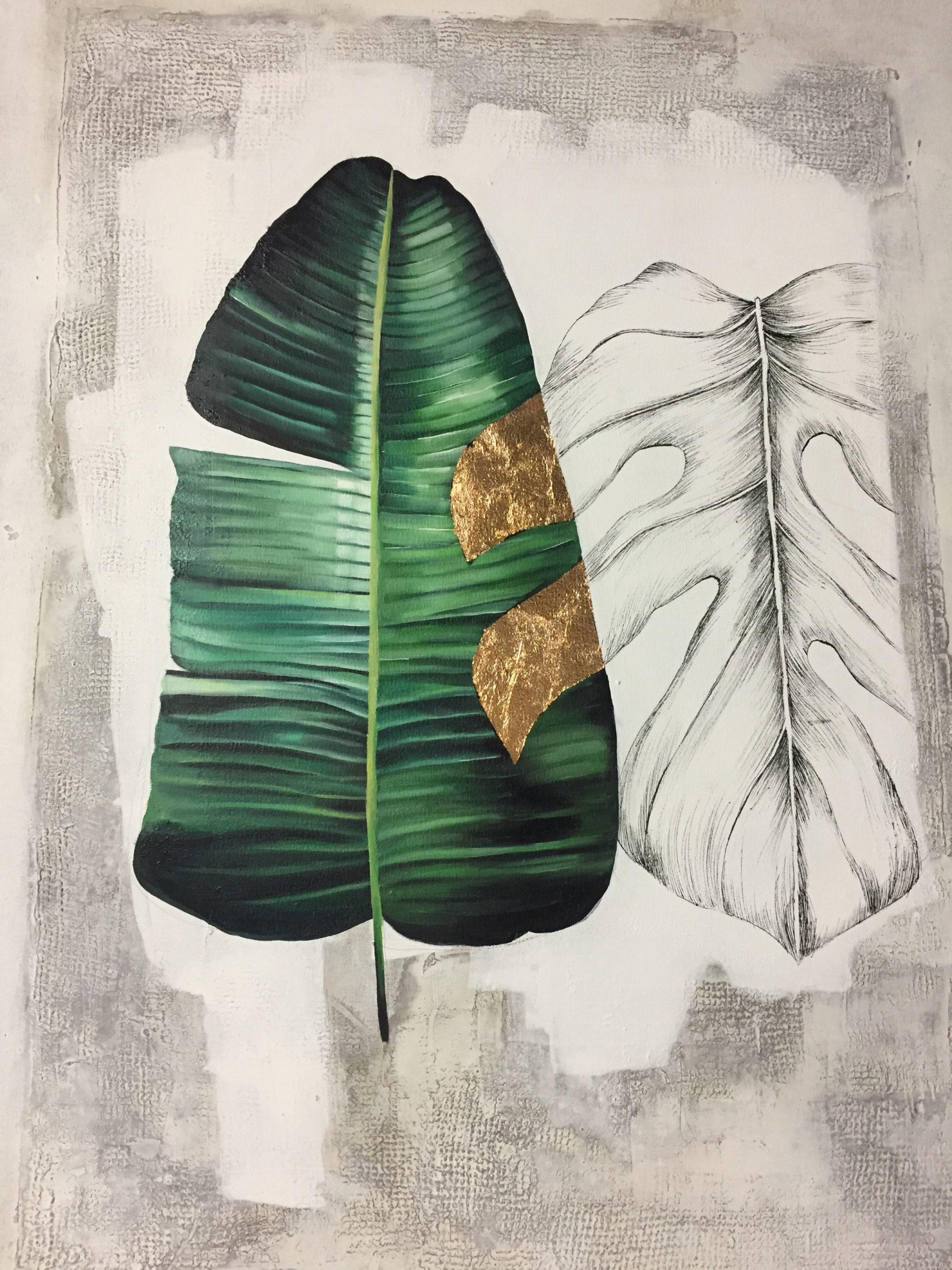 Vicky Sanders Abstract Botanical - Banana Leaf #1