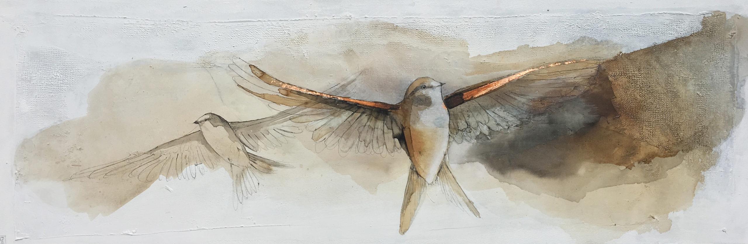 Vicky Sanders Abstract Figurative - Birds in Flight