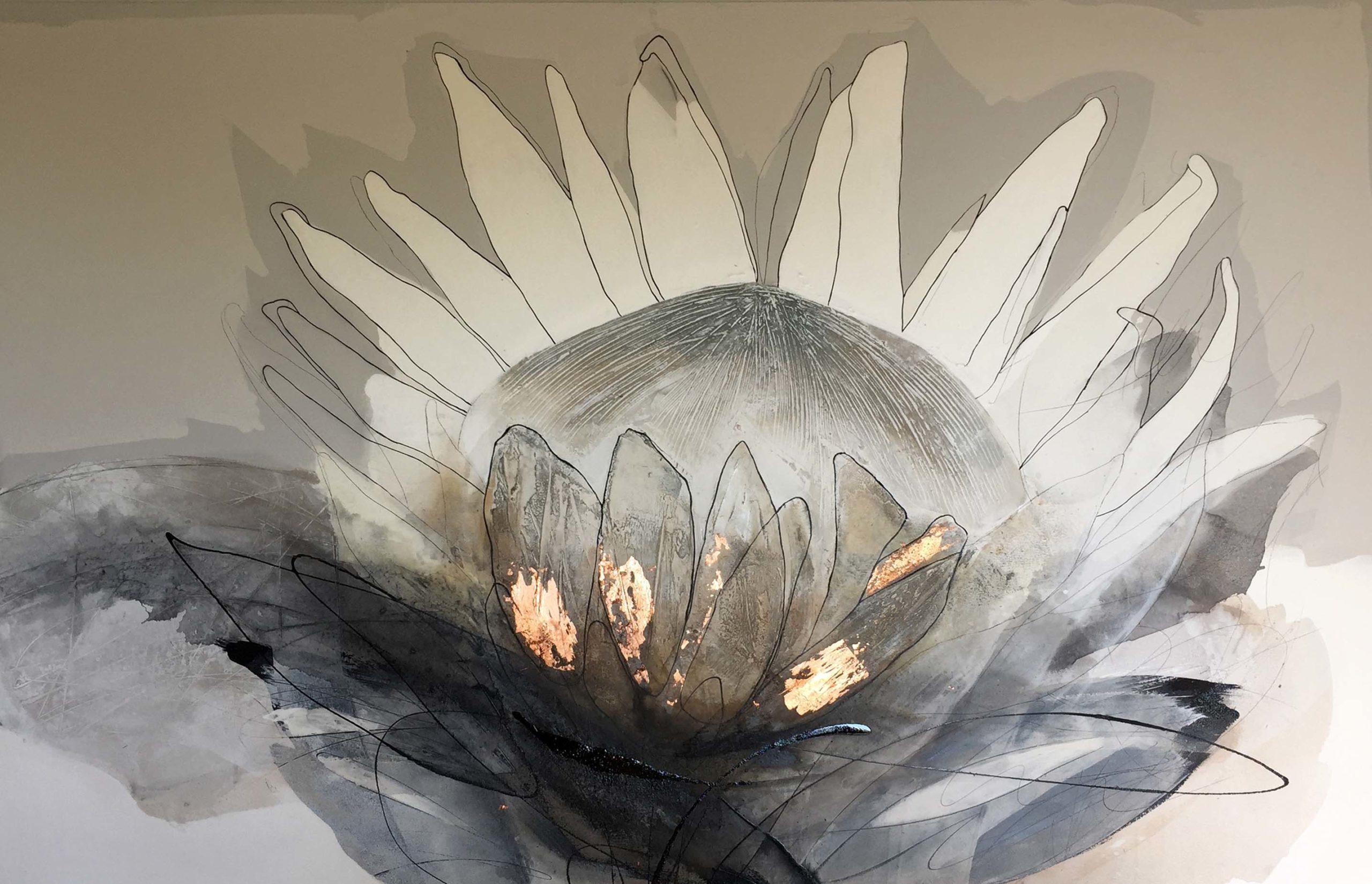 Vicky Sanders Protea Series - Black and Copper Protea #1