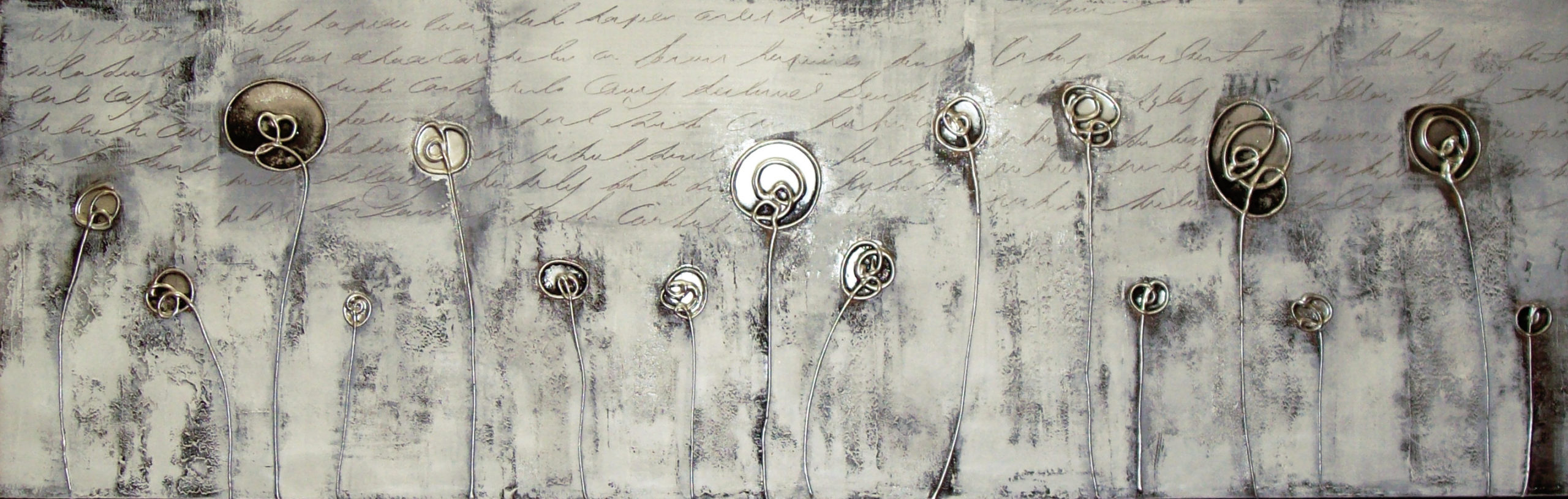 Vicky Sanders Abstract Botanical - Black and White Poppies