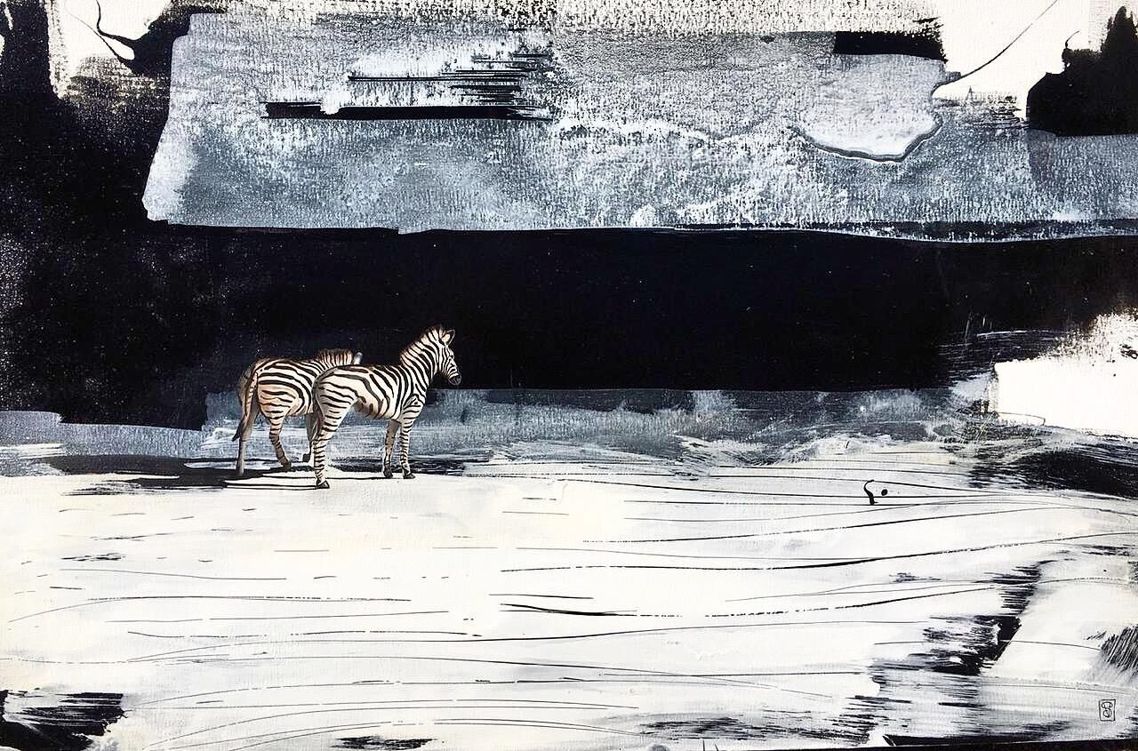 Vicky Sanders Abstract Figurative - Black and White Zebra