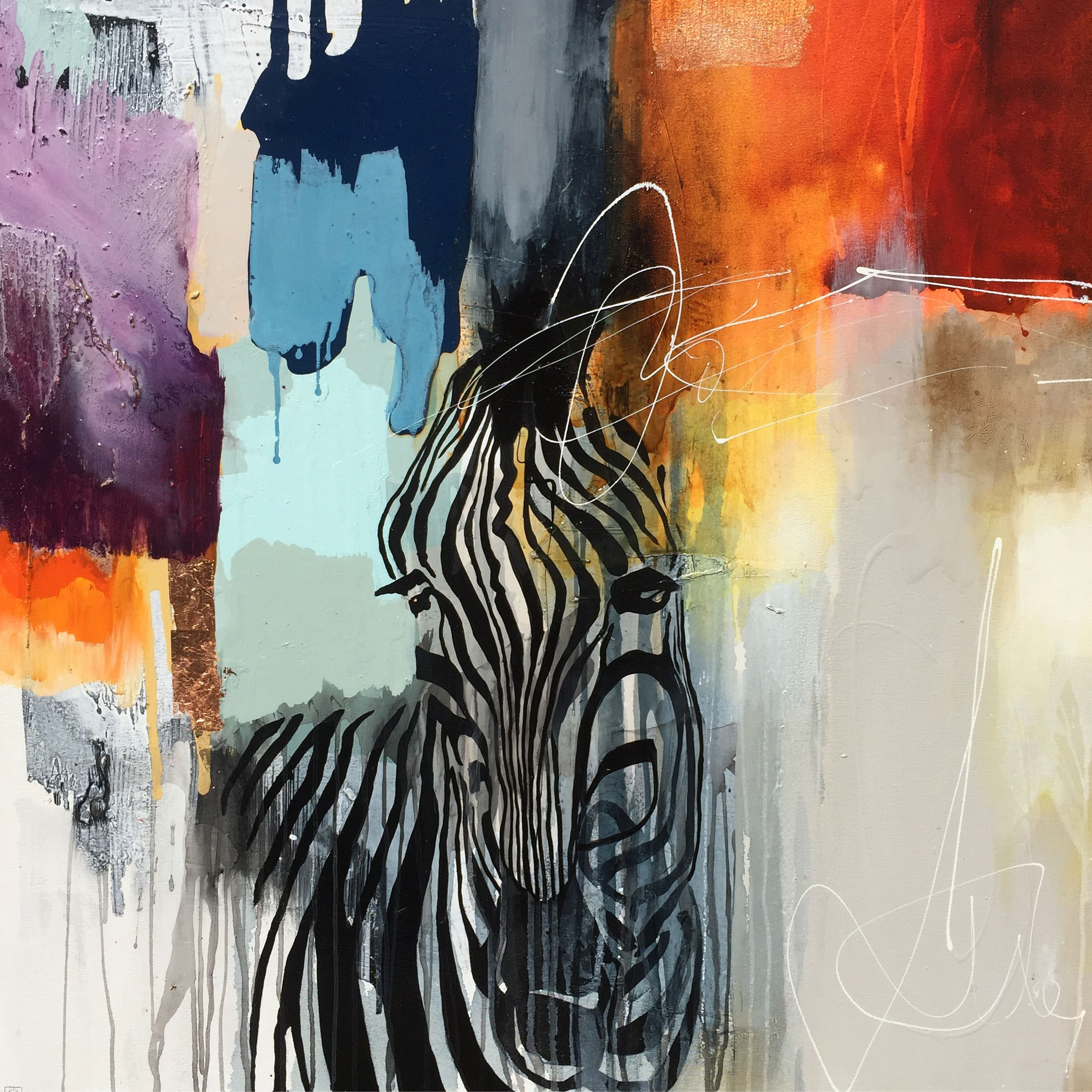 Vicky Sanders Abstract Figurative - Colourful Zebra