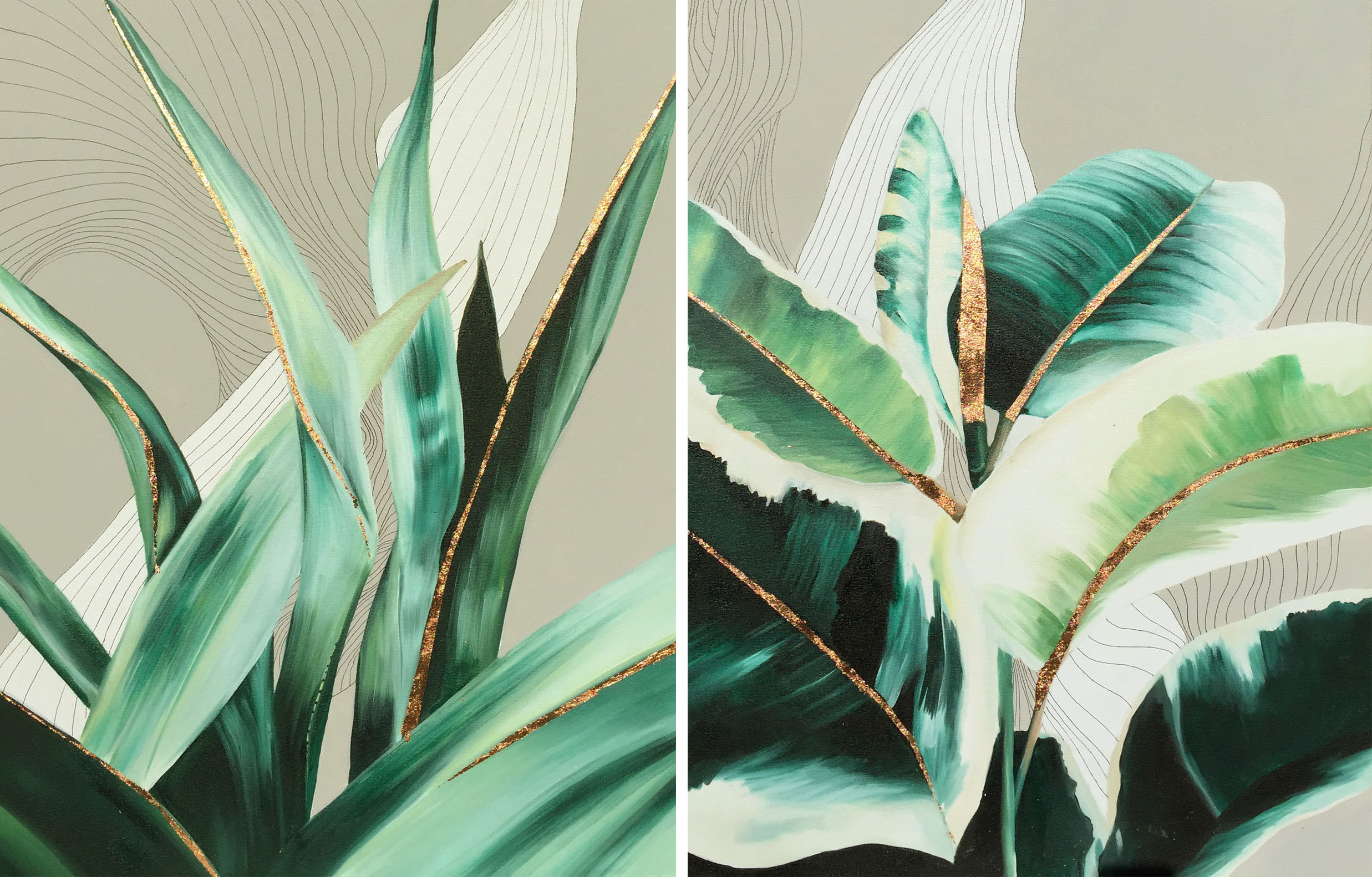 Vicky Sanders Abstract Botanical - Emerald and Copper