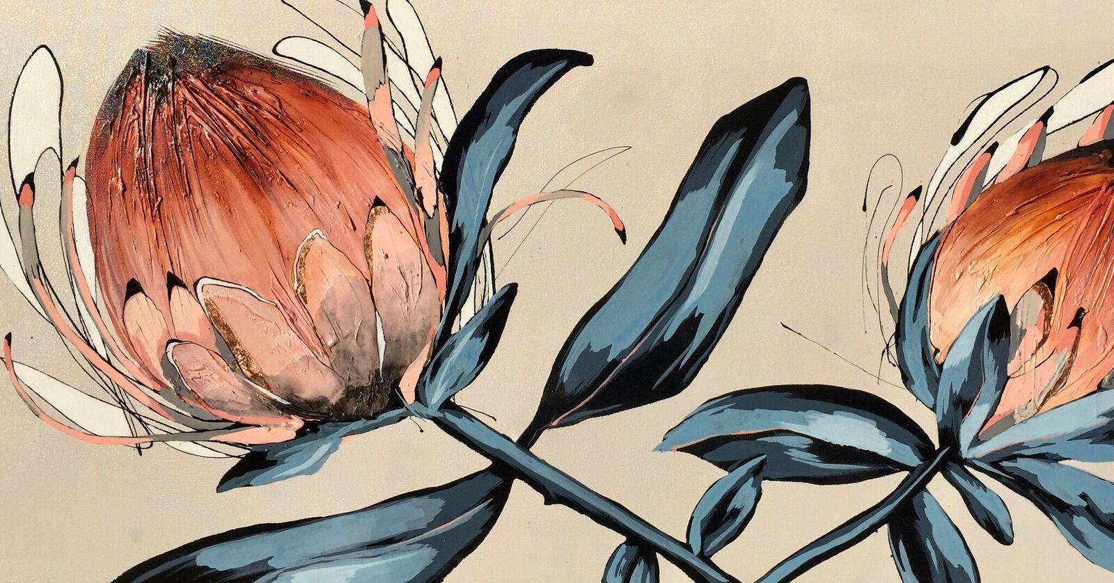 Vicky Sanders Protea Series - Flamingo Pink and Orange Protea