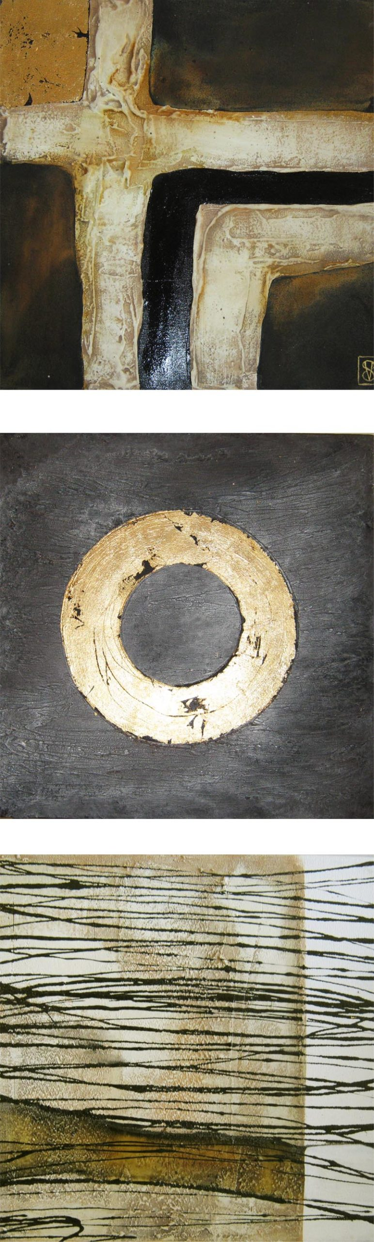 Vicky Sanders Abstract - Gold and Charcoal 3 Piece