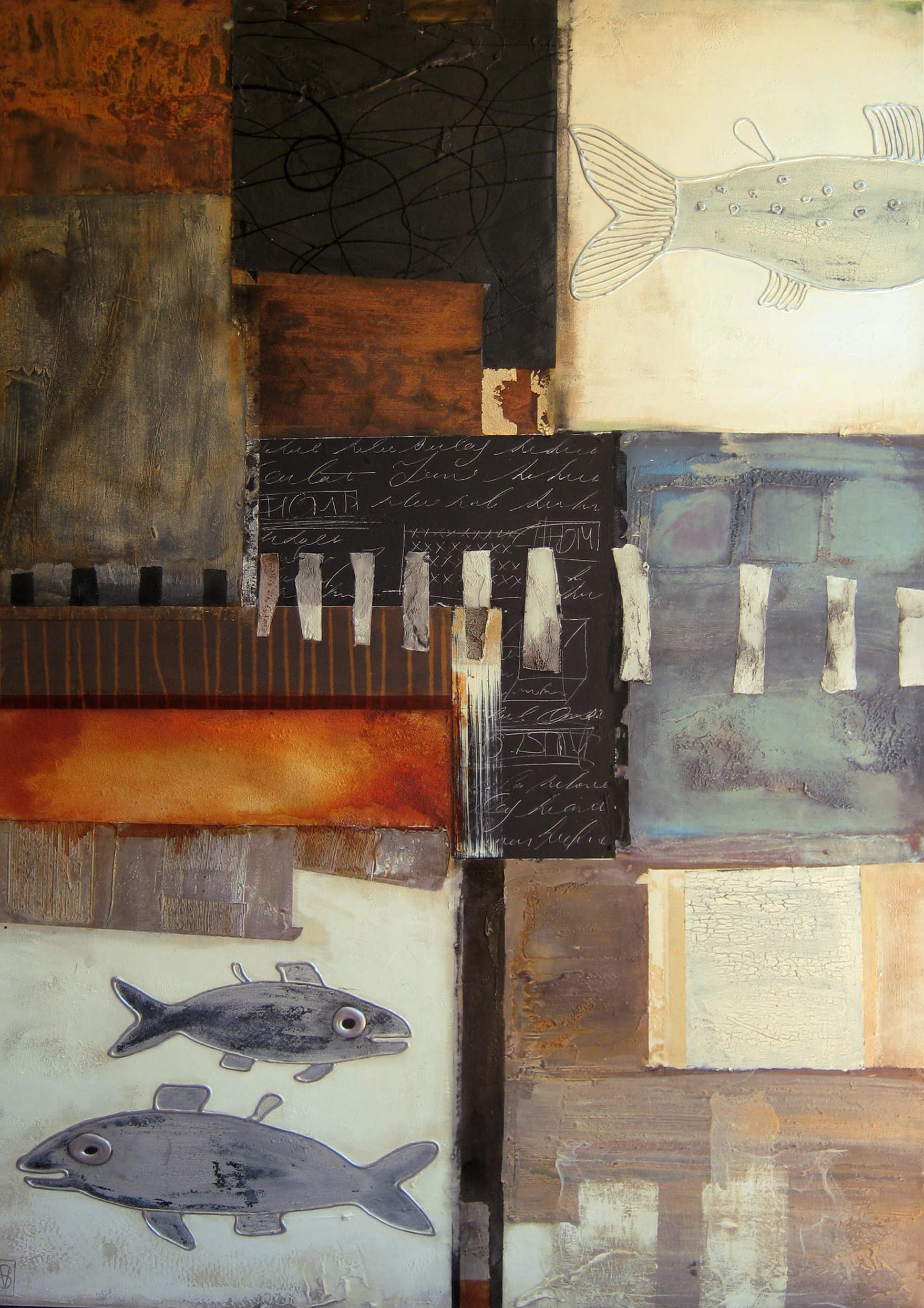 Vicky Sanders Abstract Figurative - Gone Fishing