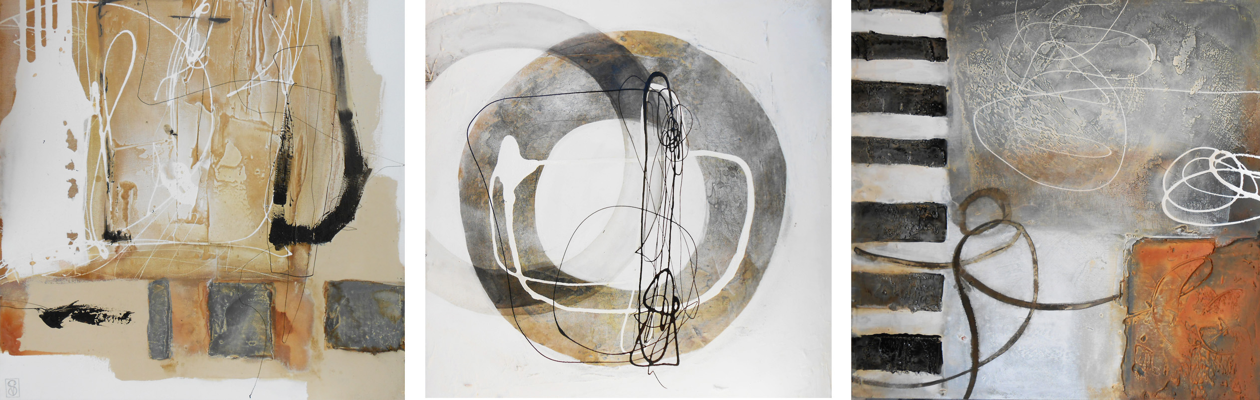 Vicky Sanders Abstract - Neutral Trip