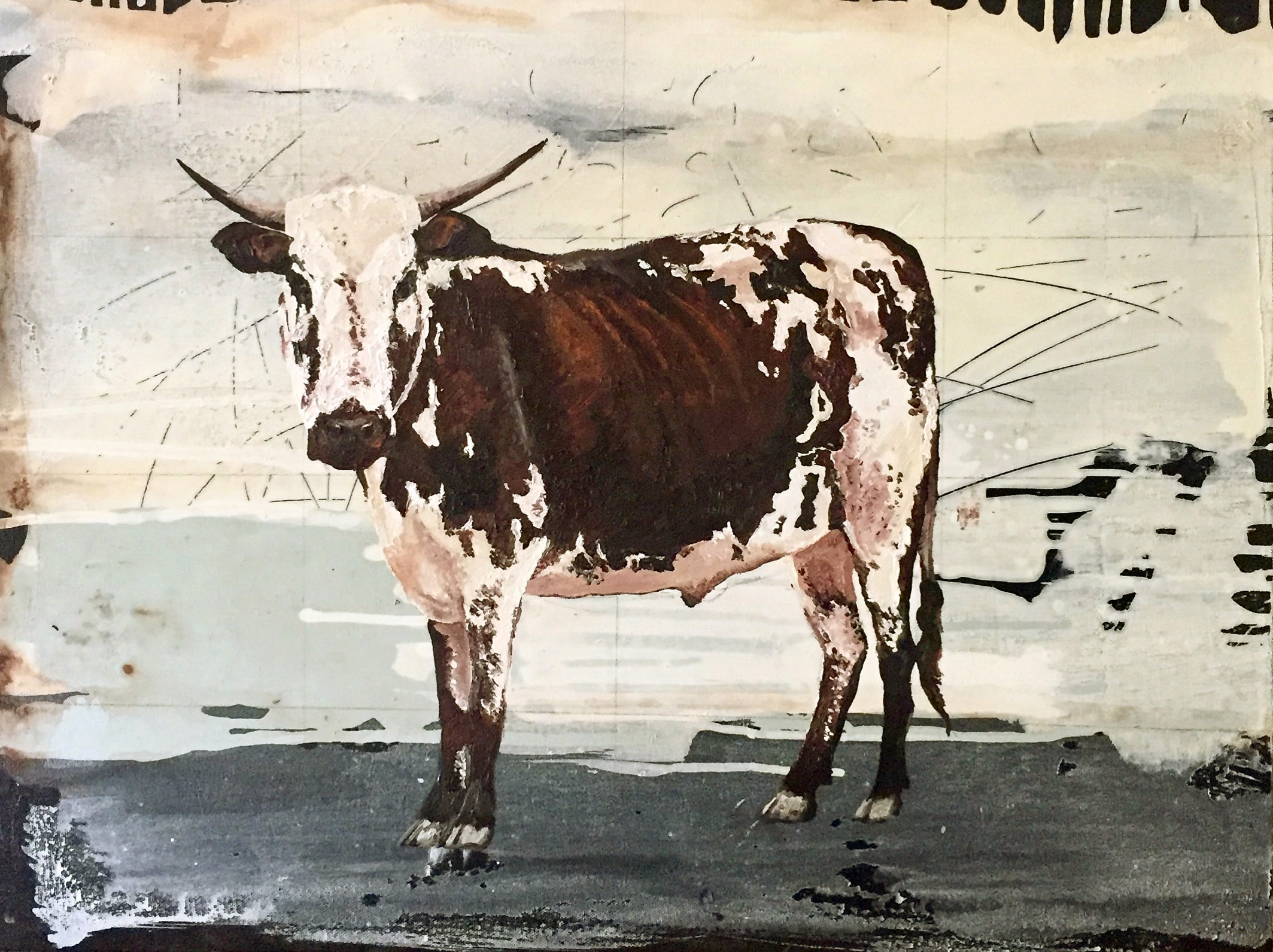 Vicky Sanders Abstract Figurative - Nguni Cow