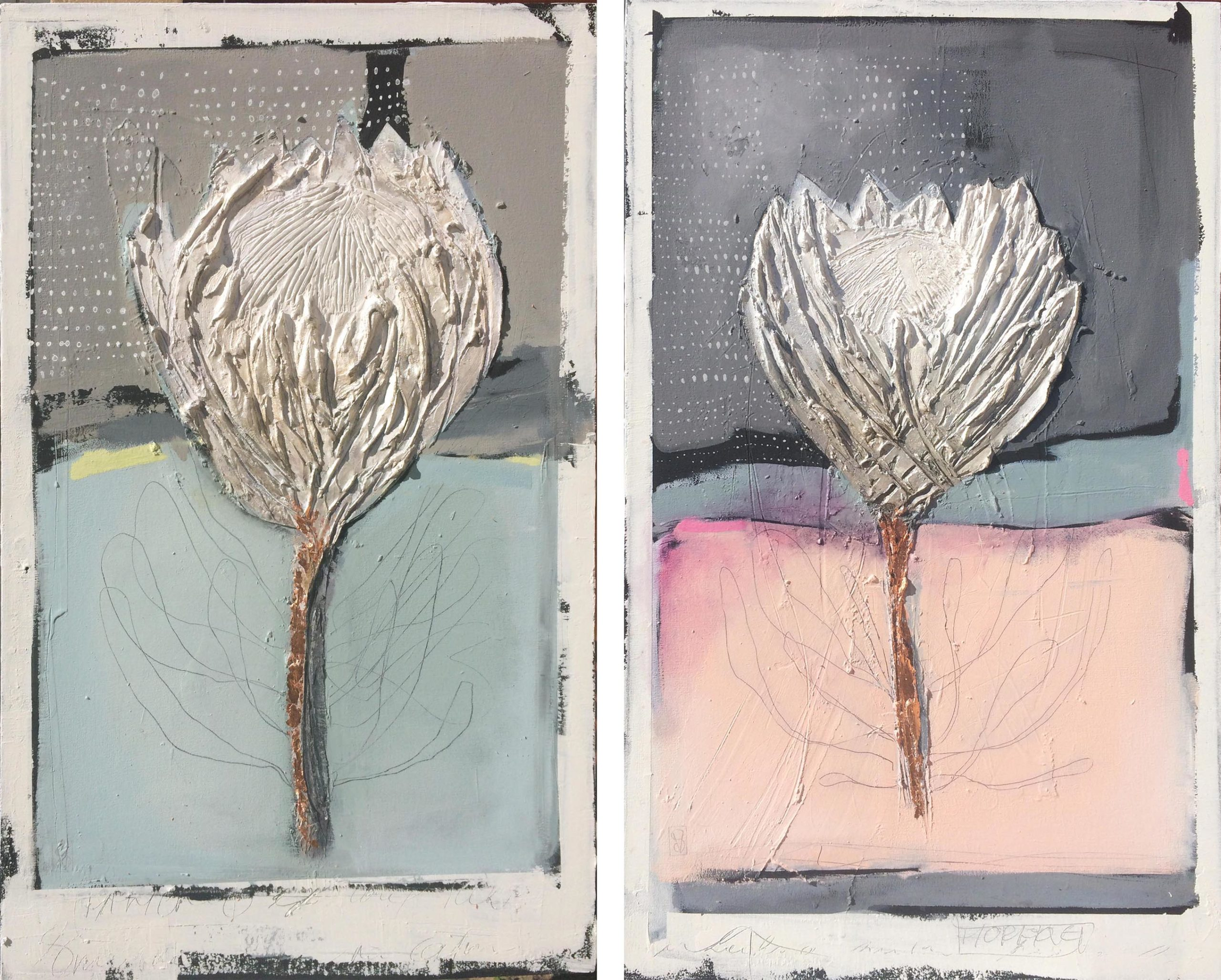 Vicky Sanders Protea Series - Pastel Proteas