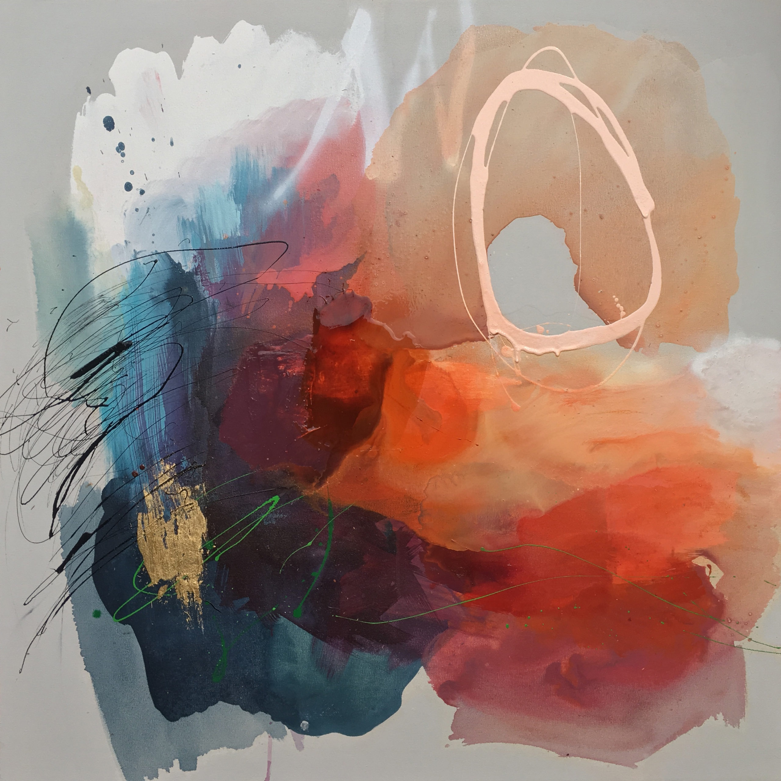 Vicky Sanders Abstract - Peaches and Clouds