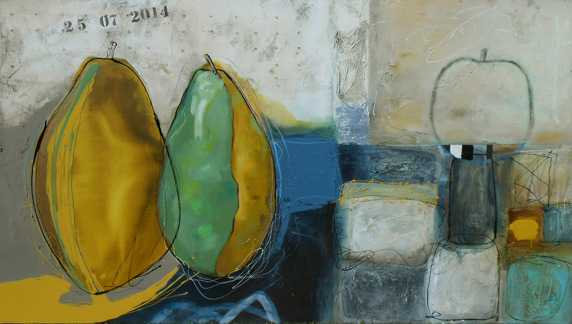 Vicky Sanders Abstract Figurative - Pear Still Life
