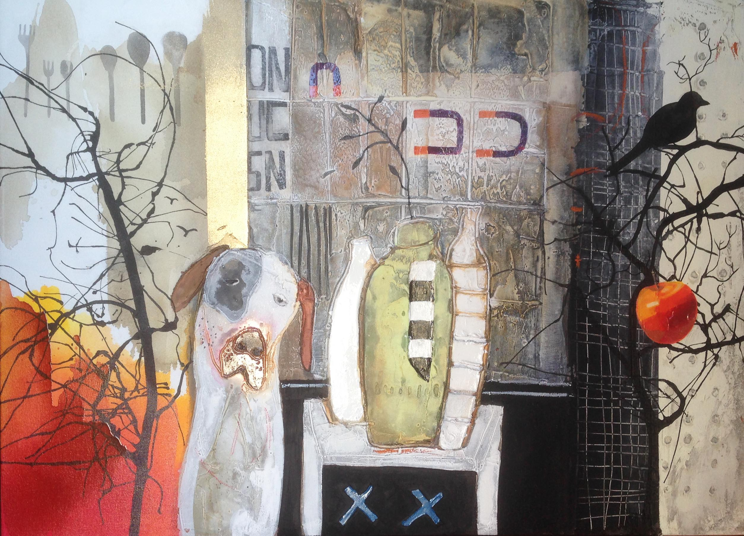 Vicky Sanders Abstract Figurative - Still Life With Dog #1