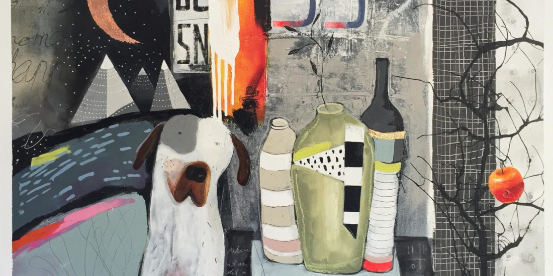 Vicky Sanders Abstract Figurative - Still Life With Dog #2