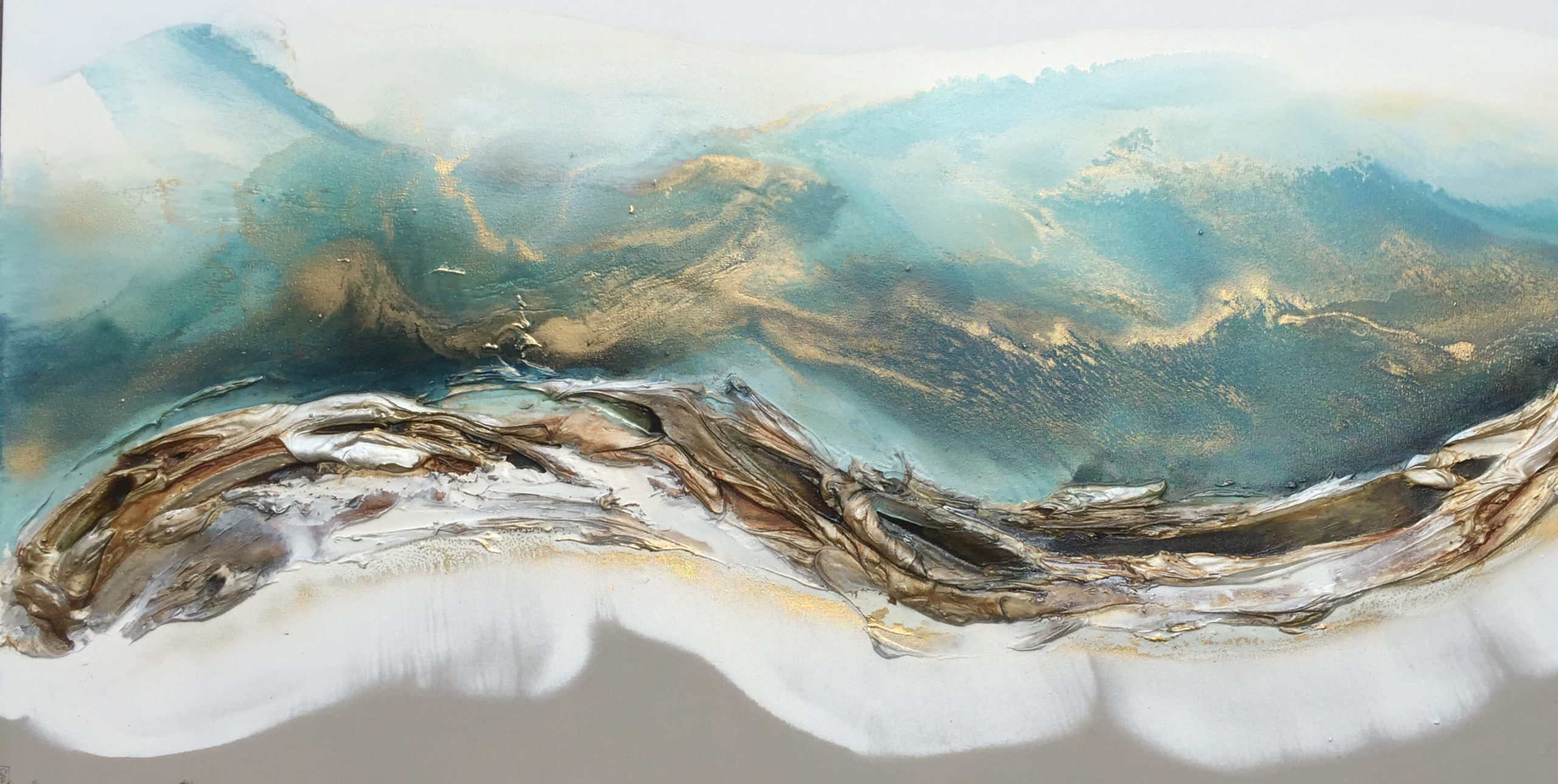 Vicky Sanders Seascapes - Turquoise and Gold Seascape