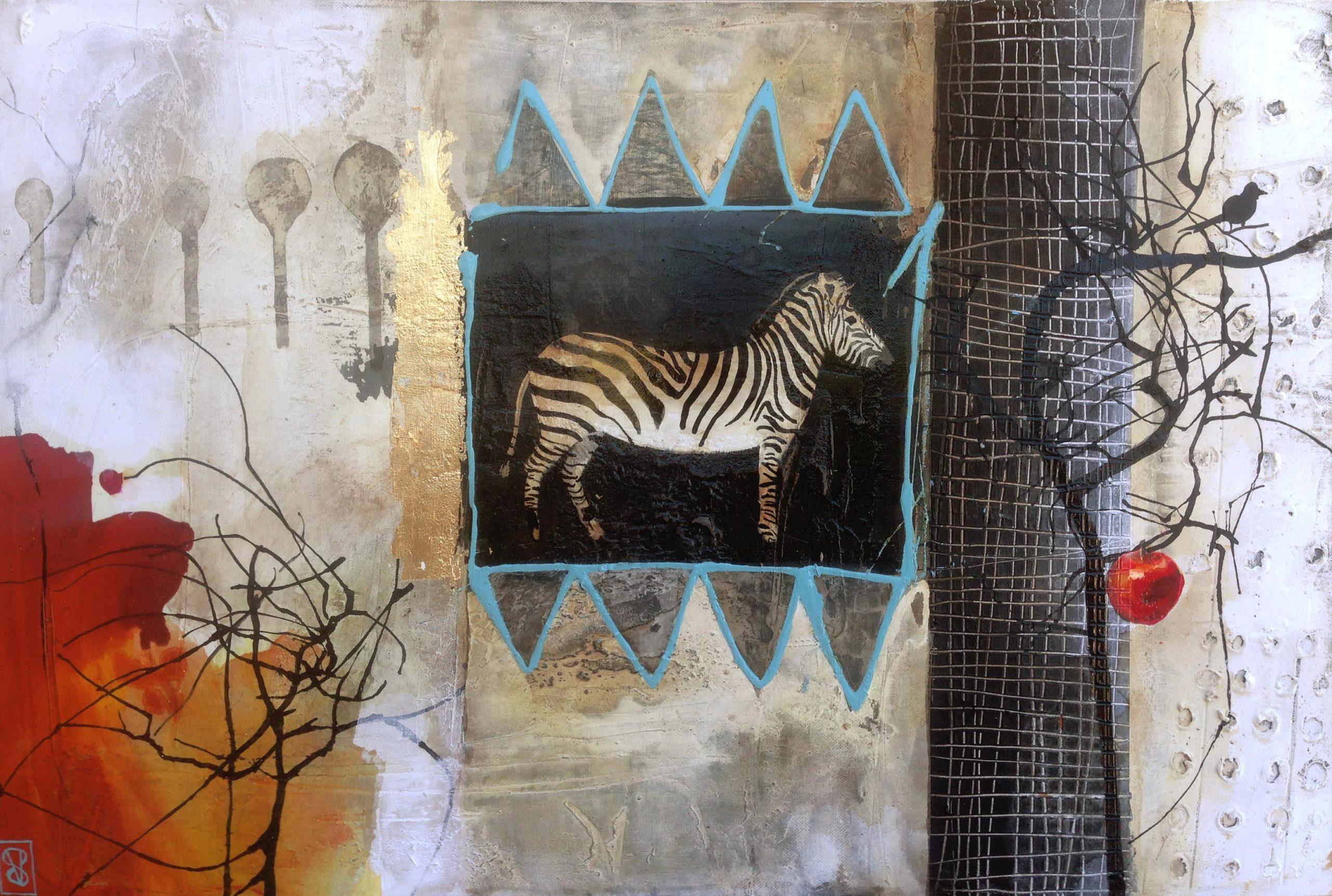 Vicky Sanders Abstract Figurative - Zebra Stamp