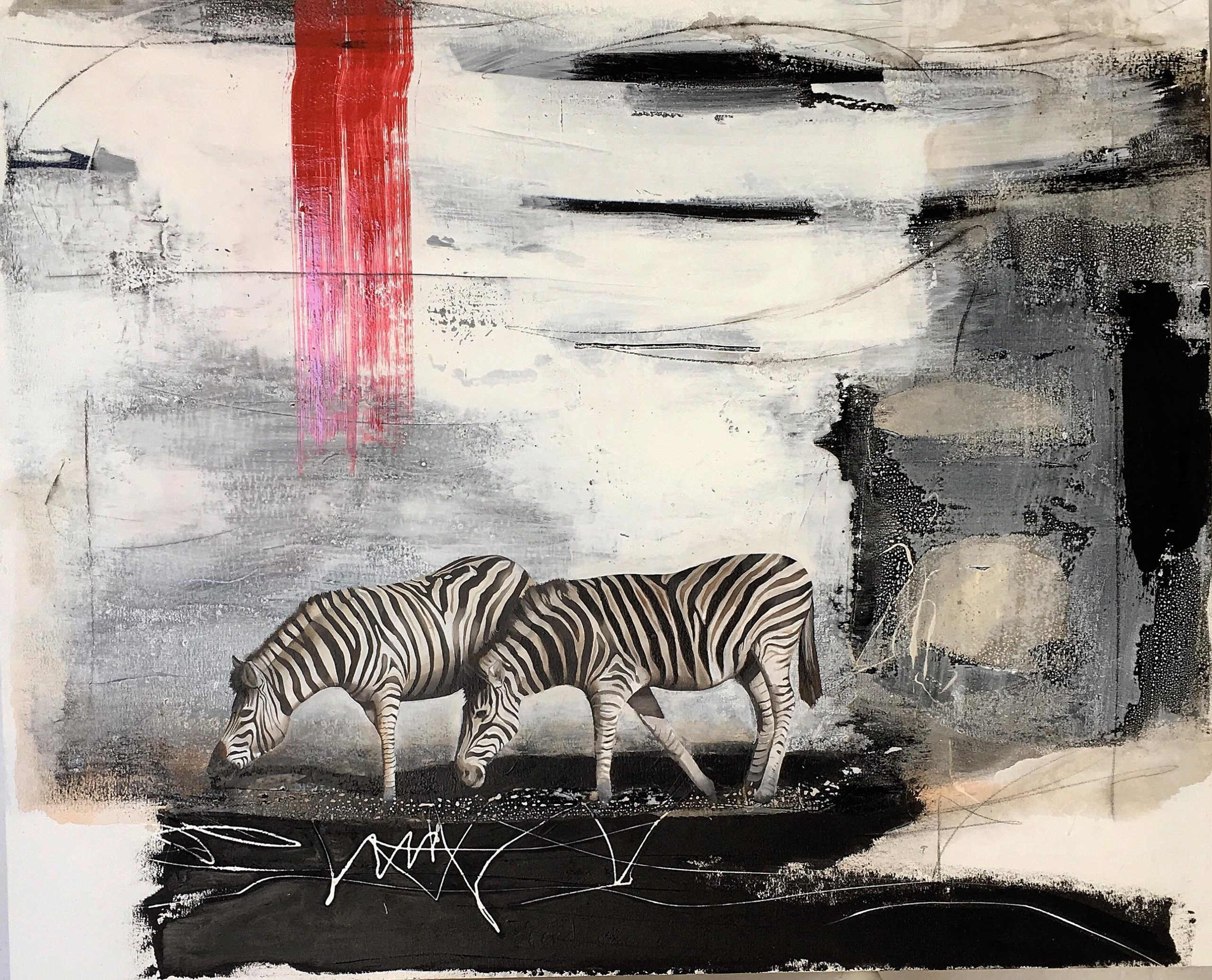 Vicky Sanders Abstract - Zebra with Red Stripe