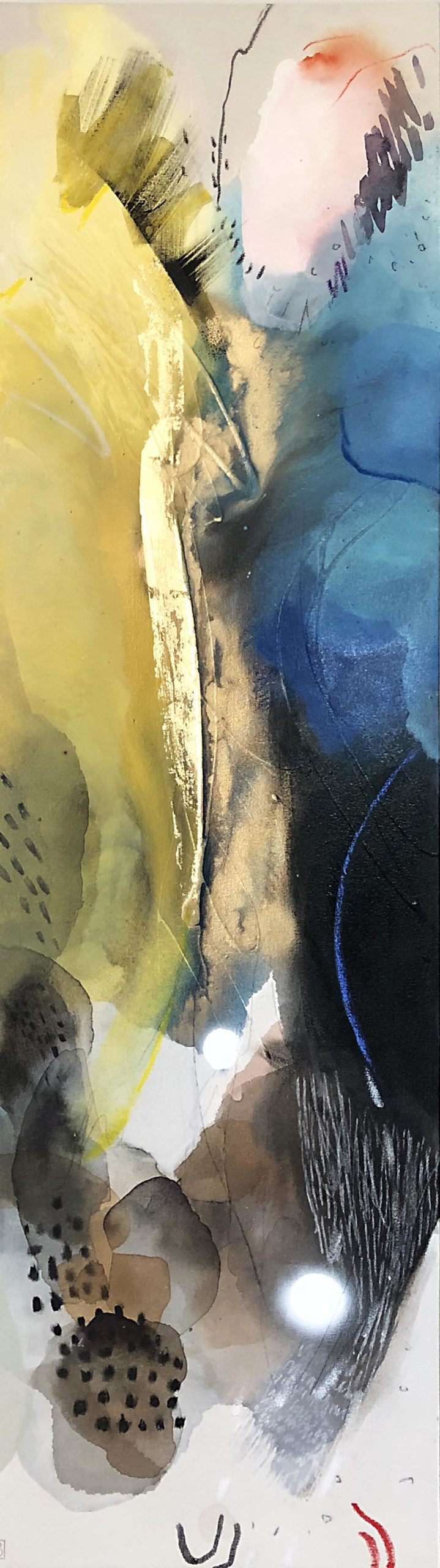 Vicky Sanders Abstract - Ochre and Blue