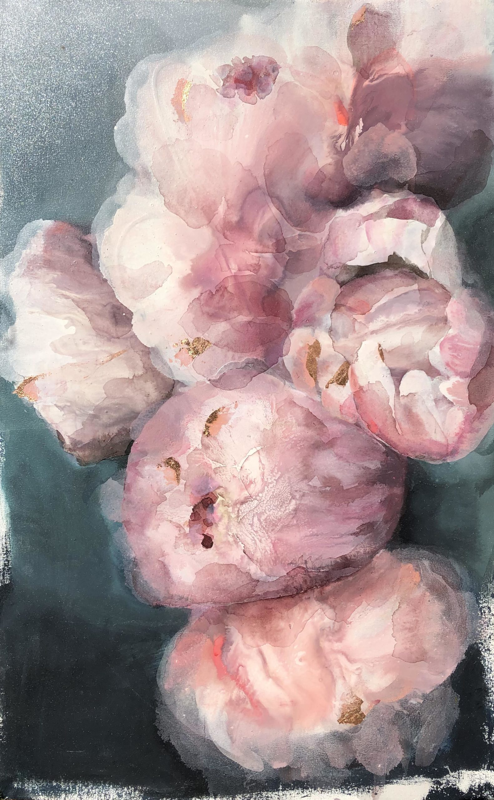 Vicky Sanders Abstract Botanical - Pink Peonies