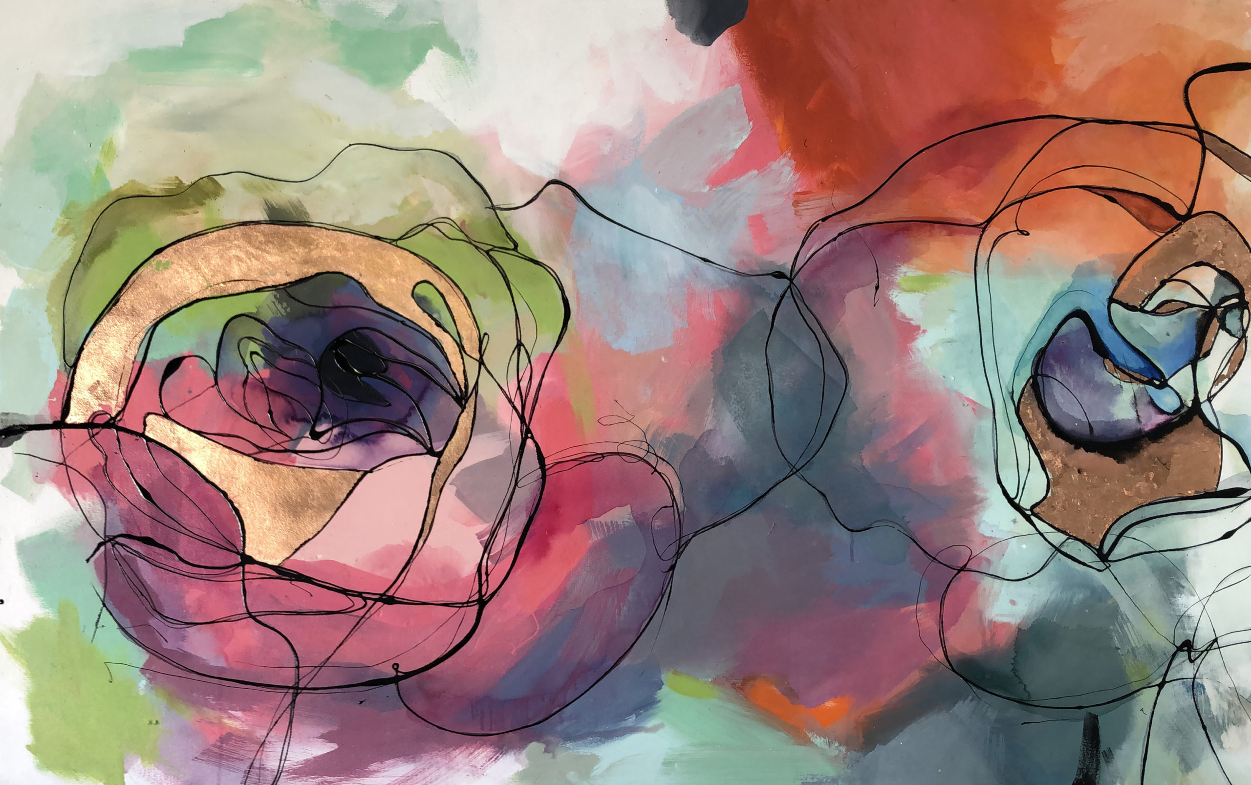 Vicky Sanders Abstract Botanical - Roses